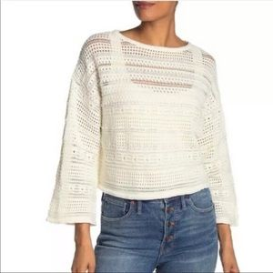 CENY Open Knit Cropped Sweater Wide Sleeve White L
